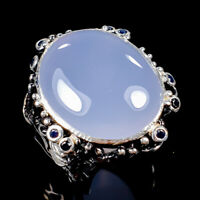 Vintage30ct+ Natural Chalcedony 925 Sterling Silver Ring Size 8/R125616
