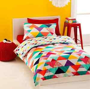 Girls Geo Geometric Triangles 3pc Doona / Quilt Cover Set - Double Size
