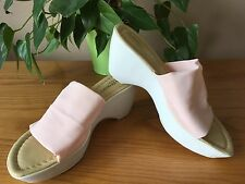 Ladies Russell & Bromley pink stretch fabric slip on wedge heel mules UK 5 EU 38