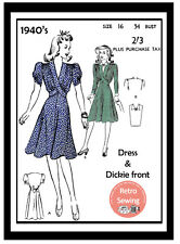 1940s Wartime Tea Dress with Dickie Front Sewing pattern Bust 34
