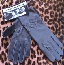 FRENCH 1950s WOMAN GRAY DRIVING GLOVES & FAUX LEATHER~STRETCH~CHIC NEW/OLD STOCK