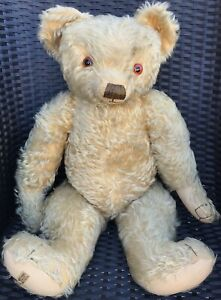 """Large Antique Merrythought Mohair Jointed Teddy Bear 26"""" W/ Button & Label 1930s"""