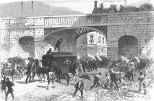 LANCS. Prison van attack, Manchester Fenians rescued, antique print, 1867