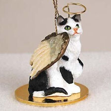 SHORTHAIR BLACK & WHITE TABBY ANGEL CAT CHRISTMAS ORNAMENT HOLIDAY Figurine