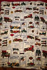 """Pair Vtg 70s Antique Car Ads Cotton Blend Long Curtain Panels w/ Hooks 26""""x79"""""""