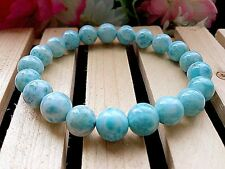 10MM 6A Natural Blue Larimar Crystal Round Beads Quartz Stretch Bracelet BL9152