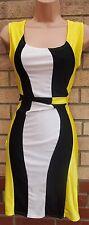 YELLOW BLACK WHITE BLOCK LYCRA STRETCH TUBE BODYCON PENCIL PARTY DRESS 12 M
