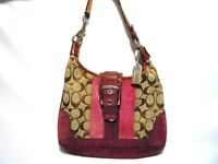 women's handbag COACH small genuine suede leather trim handle logo canvas