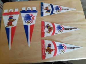 "5-1984 Los Angeles Olympics Games Pennant 4""x 8""- USA BASKETBALL,SOCCER,BASEBALL"