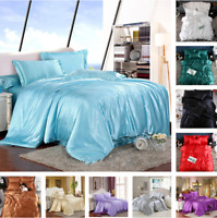 Bed Duvet Cover Sets with Pillow Cases Silk Satin Bedding Set Twin Queen King