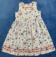 Boutique ZYNO Size 5 Girls Dress Floral Print Summer Red White Blue Sleeveless