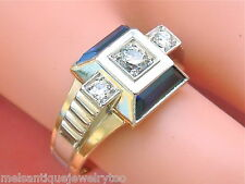 VINTAGE RETRO .34ctw DIAMOND 1.75ctw SAPPHIRE PLATINUM 18K MENS RING 1940 size 9
