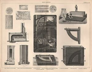 1874 PRINT ~ IRON-CASTING ~ FURNACES MOULDING ROLLED BAR CAST