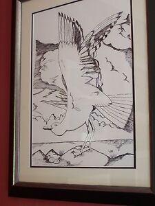 """Pen & Ink Picture """"e' Scorrie"""" (The Seagull) Framed,Original Artwork."""