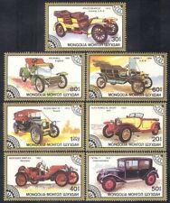 Mongolia 1986 Cars/Alfa/Stutz/Mercedes/Ford/Motoring/Transport 7v set (n11592)