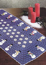 Crochet Pattern ~ SNOWFLAKES & SNOWMAN RUNNER Christmas Doily ~ Instructions