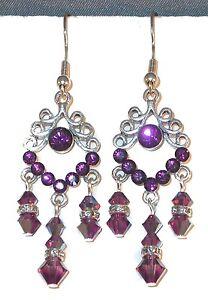 """SWAROVSKI CRYSTAL ELEMENTS Silver Prom 2"""" Chandelier Earrings AMETHYST Purple"""