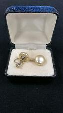 """Sterling Silver Pearl Earrings For Non Pierced Ears 1/2"""" Wide Pearls 5.0 Gr"""
