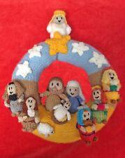 KNITTING PATTERN - Christmas Nativity Wreath Hanging Decoration 22 cms