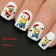 Nails WRAPS Nail Art Water Transfers Decals Minions Santa Y774