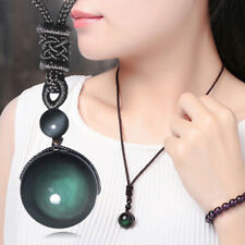 Fashion Men Women Retro Weaving Necklace Obsidian Stone Lucky Pendant Jewelry TR
