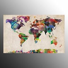 FRAMED HD Canvas Print Colorful World Map Wall Art Painting Print for Home Decor