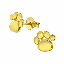 Sterling Silver 925 Dog / Cat Paw Print Gold Stud Earrings