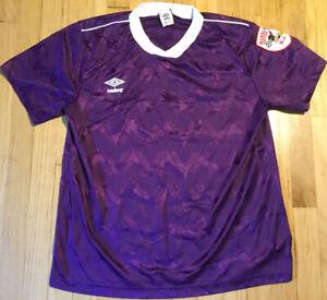 Vintage 90s UMBRO soccer jersey XL purple kit NJ patch short sleeve shirt
