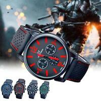 Racing Sport Watch Luxury Band Silicone Strap Movement Men's Wrist Watch Army #M