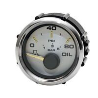 Faria Boat Oil Pressure Gauge GP7095A | 2 Inch Silver Gold