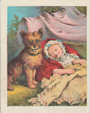 CAIRN TERRIER DOG WATCHING OVER SLEEPING BABY ANTIQUE  LITHOGRAPH ART PRINT 1877