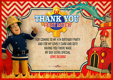 Personalised Fireman Sam, fire engine,Sam Birthday thankyou card x 8 with photo