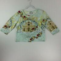 Take Two Clothing Womens Long Sleeve Pullover Top Medium Firenze Multi Color