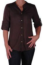 Womens 3/4 Sleeve Cotton Hip Length Plain Casual Fashion Shirt Tops Blouse