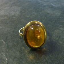 Goldring mit ovalem Bernstein Gold 333er Gold 8 Karat Gelbgold GG Ring Gr. 56