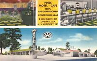 Linen Postcard Pines Motel and Cafe in Opelika, Alabama~118629