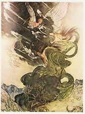 Arthur Rackham, Pegasus & Bellerophon 11 x 14 in ready mounted vintage print