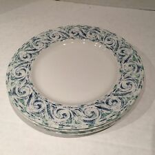 "4 Wedgwood Home Amway Salad Luncheon Plates 9"" Blue & Green Swirl Accent Scroll"