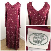Vintage Laura Ashley Prairie maxi dress, Women's 12 Red floral Made in UK