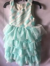 Isobella and Chloe Girls Mint Green Dotted Ruffled Tiered Dress Size 3T-New