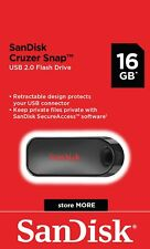 SanDisk® Cruzer Snap™ 16GB USB 2.0 Flash Drive Memory Stick Pen Genuine