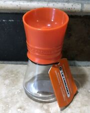 """Flame"" LE CREUSET 5"" Tall Spice Grinder NWT Orange Top with Glass Jar Base NWT"