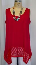 35e85f57f8f Coco & Juan Lagenlook Plus Size TankTop Red Lace Banded Tank Tunic 1X 2X ...