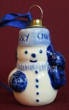 VINTAGE BLUE AND WHITE POTTERY CERAMIC SNOWMAN CHRISTMAS ORNAMENT