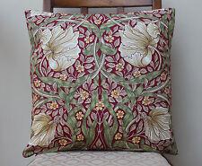 "Cushion Cover in William Morris Pimpernel Red Design 16"" - Sanderson Fabric"