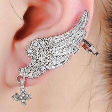 Angel Wing Silver Crystals Cuff Stud Earring For Pierced Left Ear UK Shop