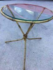 CHIC ITALIAN BRASS & GLASS FAUX BAMBOO TRIPOD DRINK SIDE TABLE