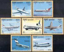 Cambodia 1991 Aviation/Aircraft/Planes/Transport/Business/Commerce 7v set b8030