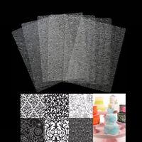 6 Pcs Floral Texture Fondant Mold Texture Sheet Mat Cake Decoration Baking Tool