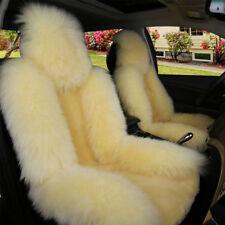 1x Beige Premium Quality Australian Sheepskin Car Long Wool Front Seat Cover Pad